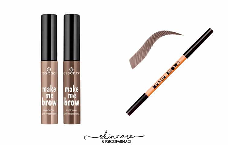 Io uso questo economicissimo mascara per sopracciglia della Essence che non delude, la matita Manga Brows di Neve Cosmetics mi piace per la sua resa naturale. Credits: blog.pianetadonna.it e www.nevecosmetics.it