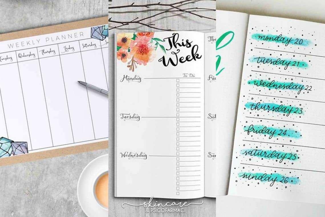 tre tipi di visuali di un'agenda settimanale