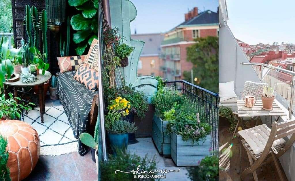 tre balconi in tre stili di arredamento diversi, effetto giungla, bvasche in legno e semplice e moderno